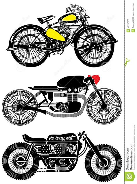 design motorbike graphics motorcycle set vintage graphic design stock vector image