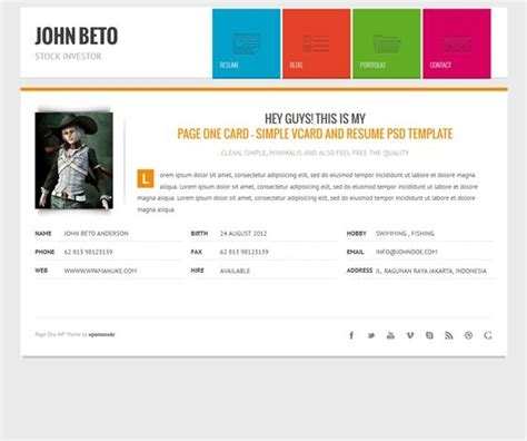 page one responsive vcard resume html template 1000 images about 13 more of the best free premium cv