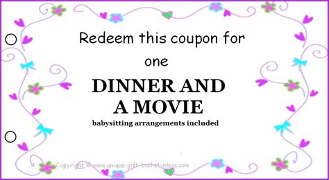 Dinner Certificate Template Free free printable coupons for unique gift ideas