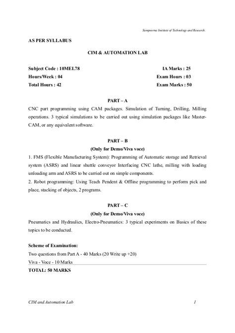 Cim Amp Automation Lab Manual Vtu