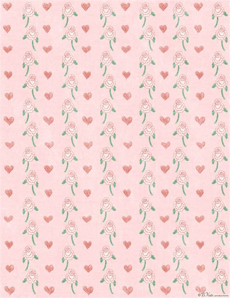 Floral Craft Paper - free printable hearts n flowers valentines craft paper by