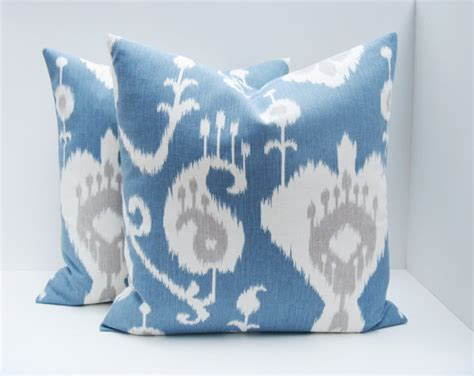 Blue Gray Pillows by Gray Ikat Pillows Blue Gray Pillow Decorative By Eastandnest
