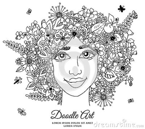 doodle hair vector vector illustration zentangl with flowers in hair