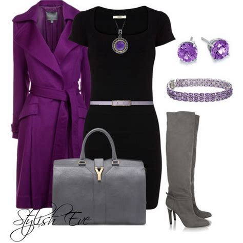 stylish eve gray hair purple winter 2013 outfits for women by stylish eve 02