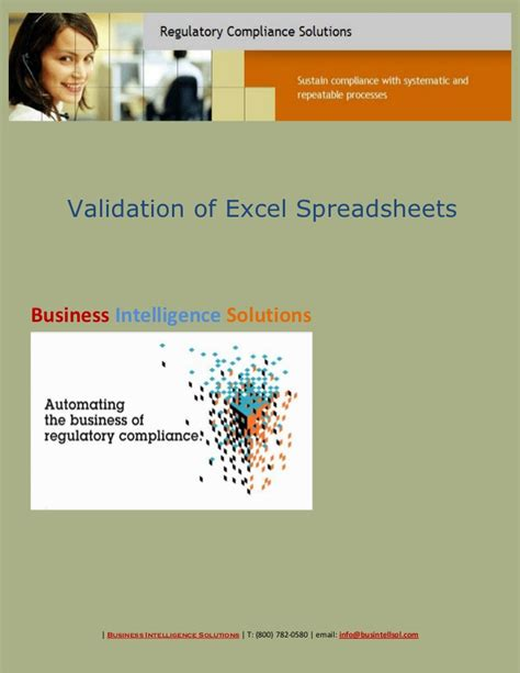 Validation Of Excel Spreadsheets by Validation Of Excel Spreadsheets