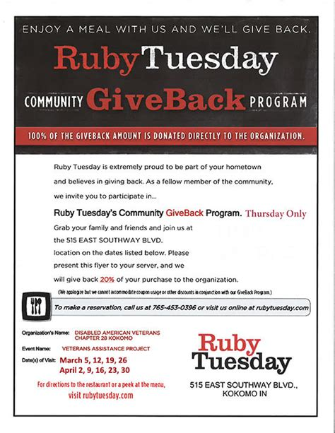 printable job application for ruby tuesdays ruby tuesday community giveback program kp