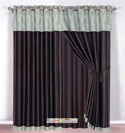 seafoam curtains 4 pc damask medallion clamshell jacquard curtain set