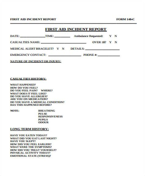 aid incident report template doc 595842 aid incident report template
