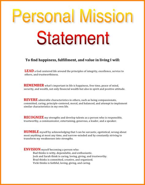 3 personal mission statement exles statement 2017