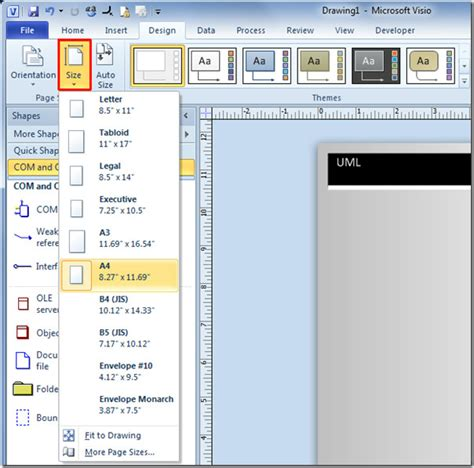 visio set page size how to create a template in visio 2010