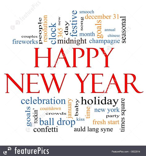 happy new year word cloud concept illustration