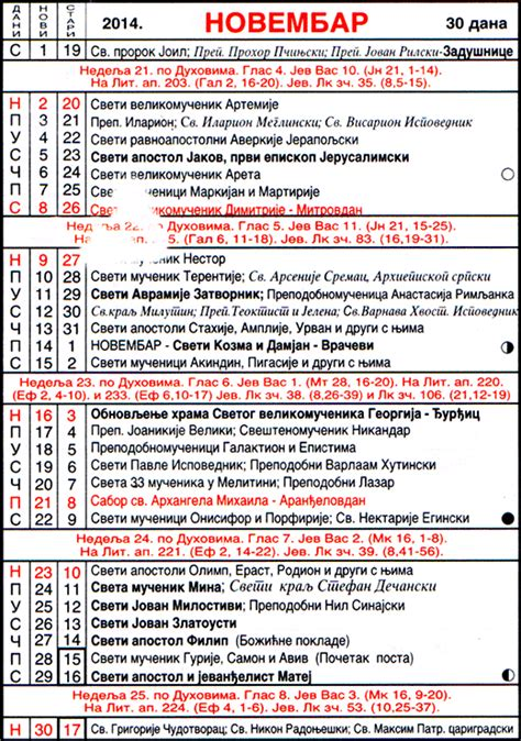 pravoslavni crkveni kalendar za 2014 11