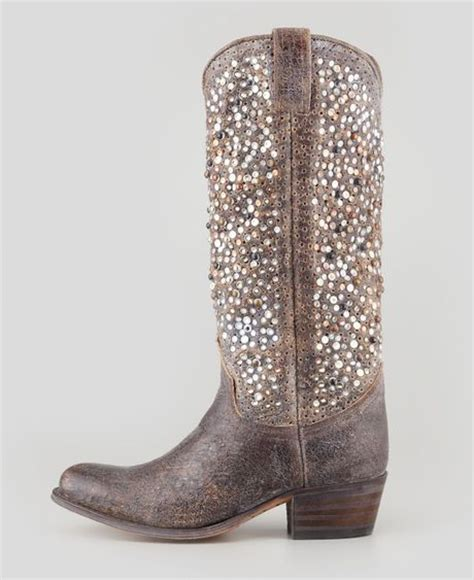frye studded boots frye deborah studded vintage leather boot gray in gray lyst