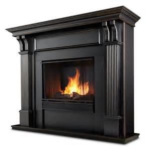 real indoor ventless gel fireplace in black wash