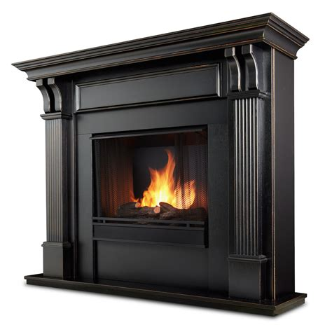 real indoor ventless gel fireplace in black wash