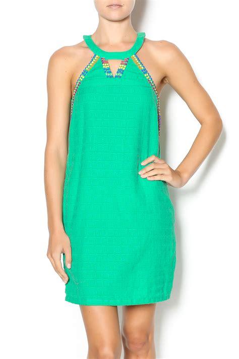 Halter Green Color Block Green Halter Dress From Louisiana By Rrus Co