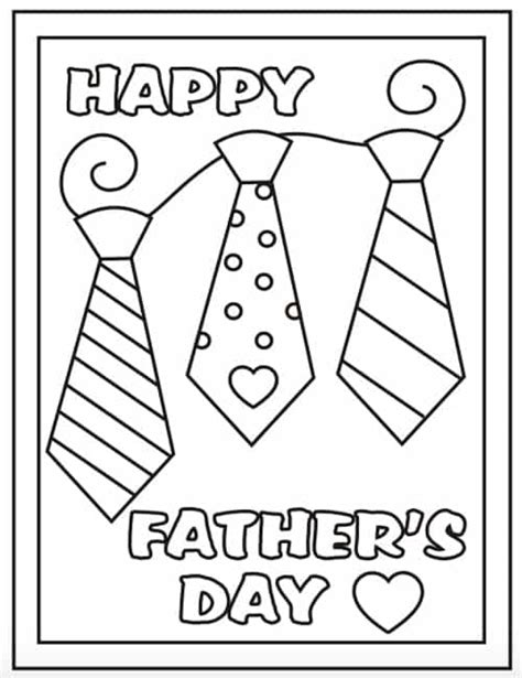 coloring page father s day card free online top 10 fathers day cards printables clip art