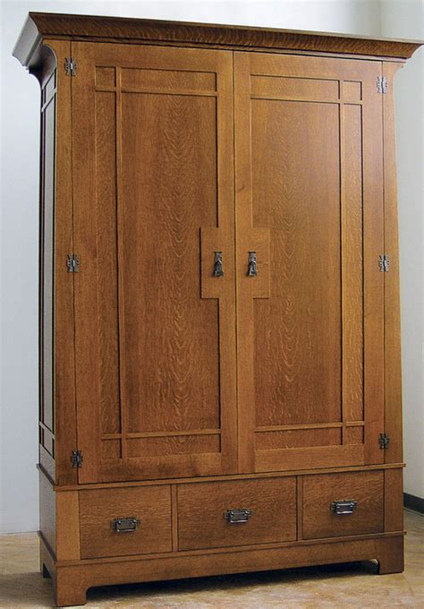 Mission Style Wardrobe by Craftsman Style Armoire Finewoodworking