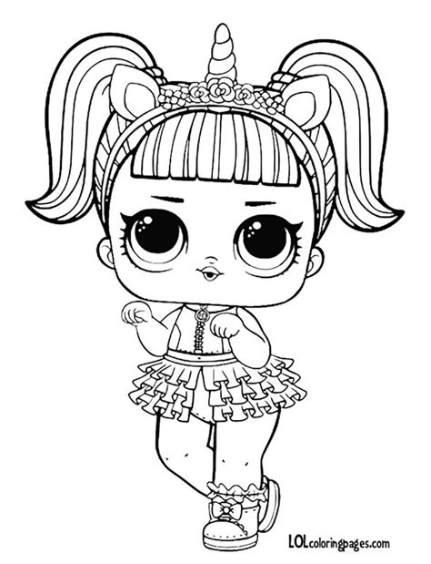 unicorn l o l doll coloring page lol