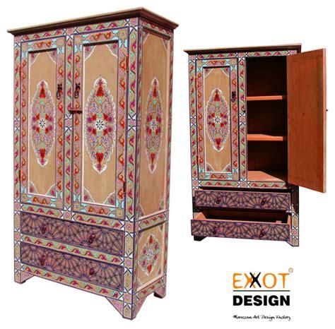 moroccan handmade wooden painting wardrobe