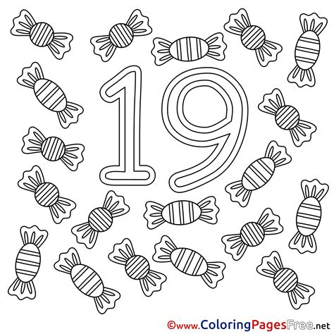coloring page number 19 19 candies free colouring page numbers