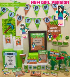 printable minecraft party collection girls creative