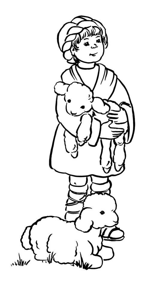 coloring page david the shepherd boy boy sheep coloring david the shepherd hold his pages