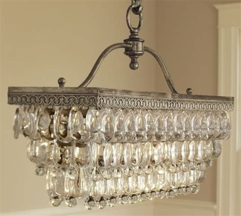 clarissa glass drop rectangular chandelier by pottery barn