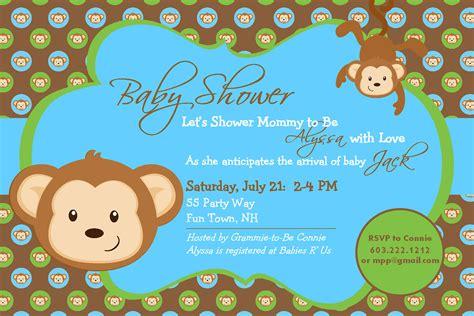 baby shower invitation monkey printable by