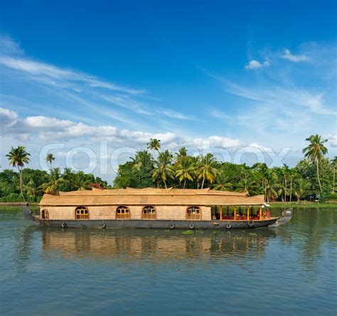 houseboat colour houseboat on kerala backwaters india stock photo