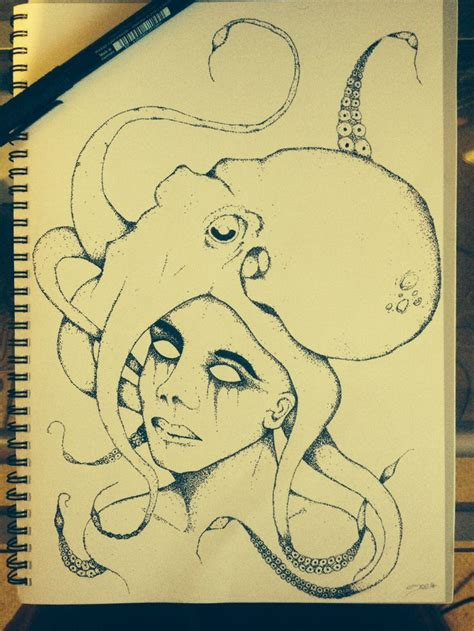 tattoo flash work dot work octopus women day of the dead lady dotwork