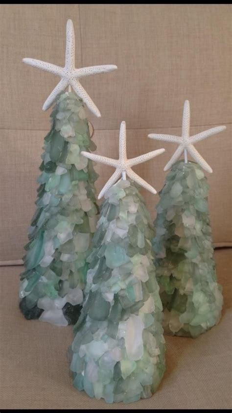 sea glass christmas trees craft pinterest