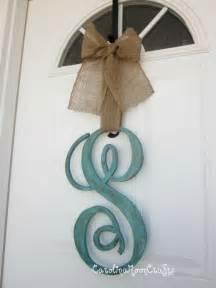Monogram Letters For Front Door Single Letter Monogram Wooden Door Decor 18 Inches