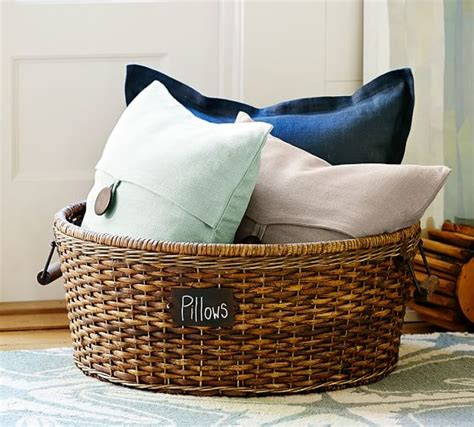 large basket for storing throw pillows 42 brilliant ways to binge organize your entire home