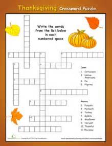 Simple thanksgiving crossword puzzle