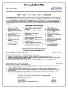 Project Management Resume Example 2016 Construction Project Manager Resume Sample Writing