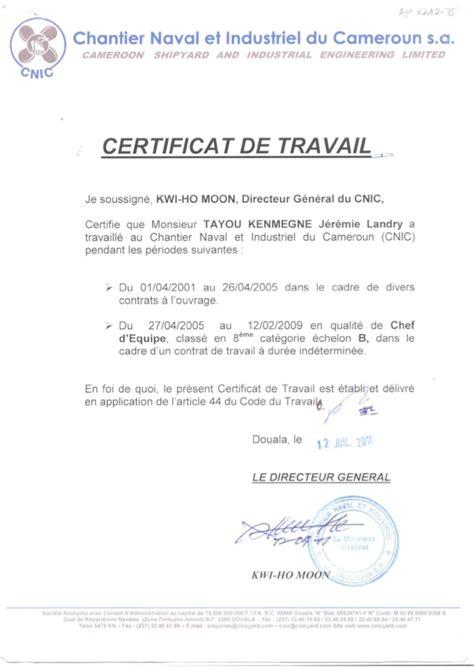 Certificat De Travail Cnic