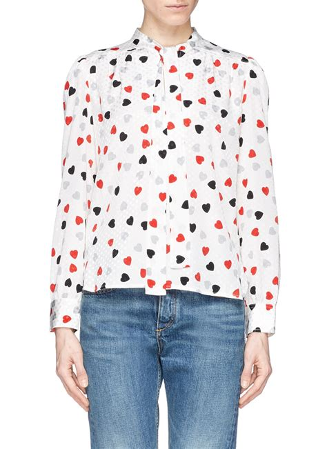 Ribbon Print Top White lyst see by chlo 233 sleeve tie neck printed top in white