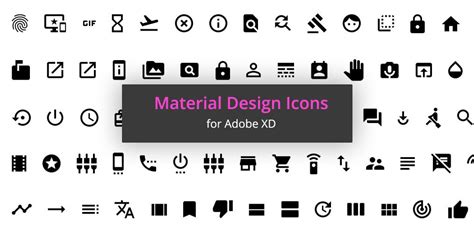 1000 Free Material Icons For Adobe Xd Xdguru Material Design App Icon Template