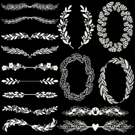 ornaments black ornaments on a black background vector free