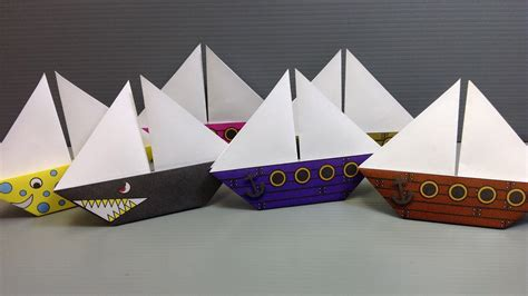 Origami Catamaran - free origami sailboat paper print your own pirate and