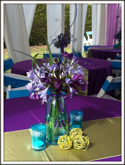 purple and turquoise wedding centerpieces purple and turquoise centerpiece wedding ideas
