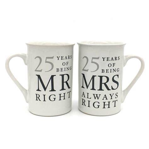 25th silver wedding anniversary mugs gift set wg67725 ebay