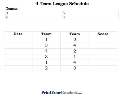 Printable 4 Team League Schedule 10 Team League Schedule Template