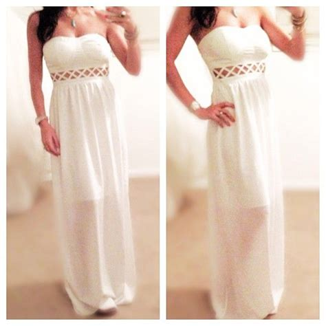 Maxi Hazel By My Trend Fashion white cut out maxi dress light flowey for an easy fit