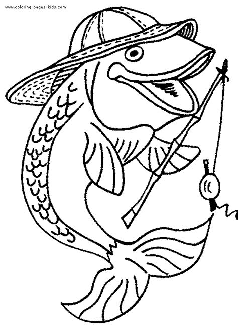 Fishing Fish Color Page Fishing Coloring Pages