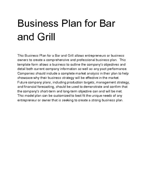 bar and grill business plan template welcome to docs 4 sale