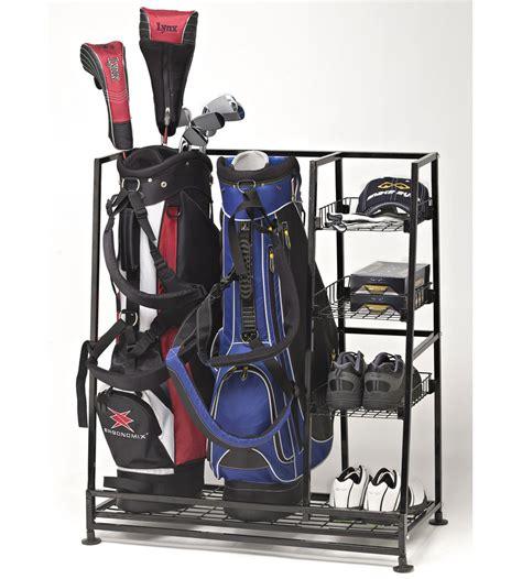golf bag storage rack in sports equipment organizers