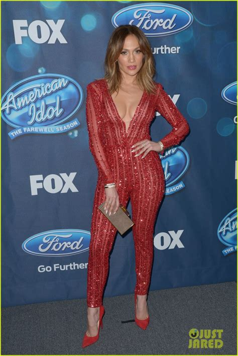 jennifer lopez looks different on idol jennifer lopez looks red hot in a jumpsuit at idol party