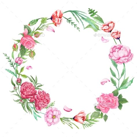 shabby chic floral wreath by kisika graphicriver